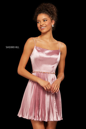 Sherri Hill 53111 prom dress images.  Sherri Hill 53111 is available in these colors: Turquoise; Wine; Jade; Navy; Rose.