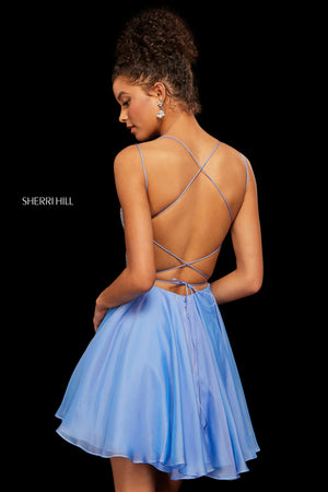 Sherri Hill 53113 prom dress images.  Sherri Hill 53113 is available in these colors: Ivory; Periwinkle; Pink; Yellow; Black; Red; Nude.