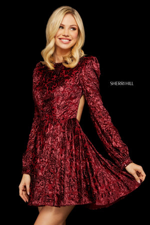 Sherri Hill 53115 prom dress images.  Sherri Hill 53115 is available in these colors: Burgundy; Rose; Dusty Blue; Navy.
