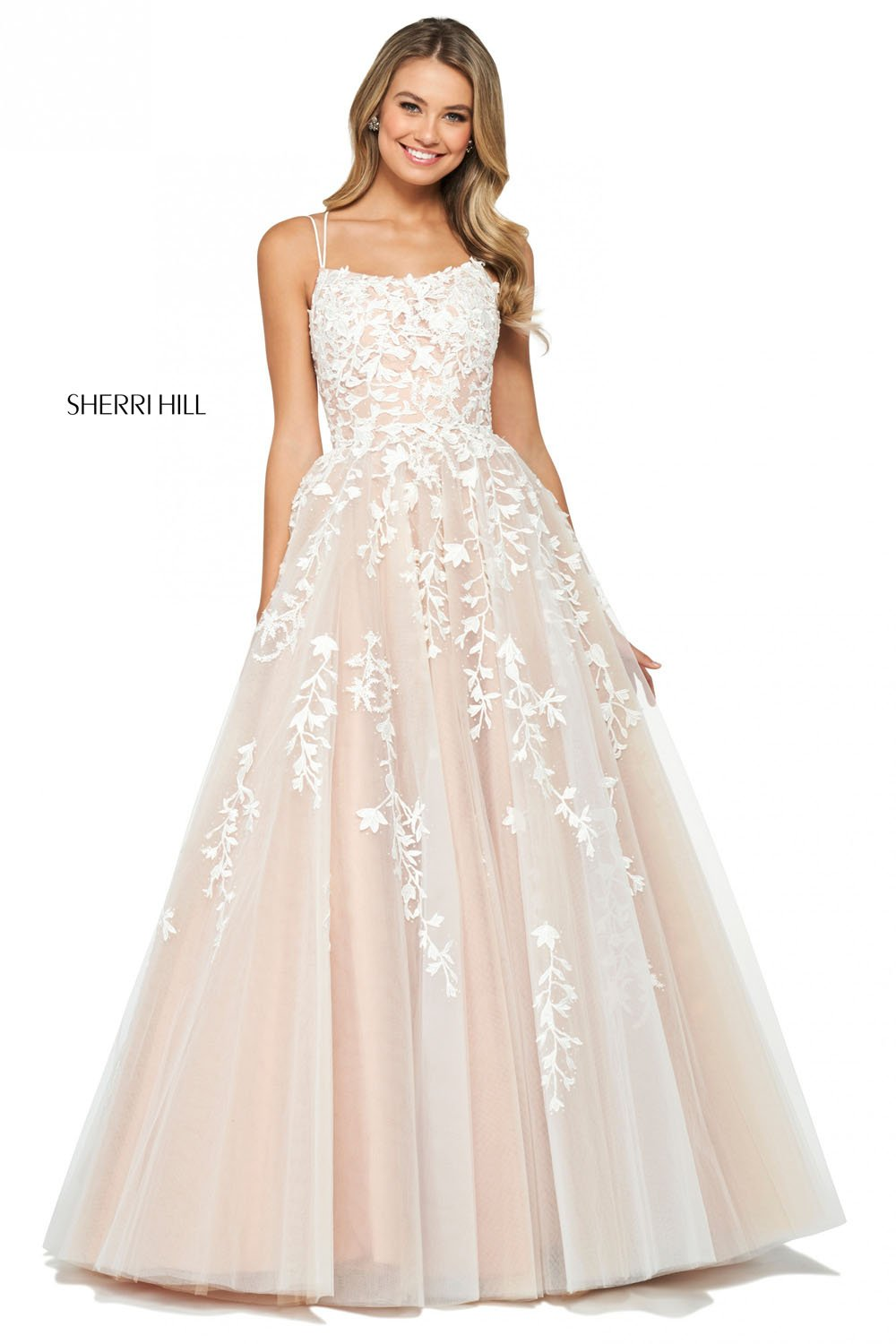 Sherri Hill 53116 prom dress images.  Sherri Hill 53116 is available in these colors: Black, Gold, Yellow, Light Blue, Blush, Red, Ivory Nude, Lilac, Navy, Wine, Bright Pink, Coral.