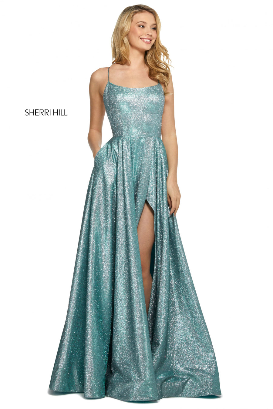 Sherri Hill 53118 prom dress images.  Sherri Hill 53118 is available in these colors: Royal Silver; Mocha Silver; Nude Silver; Aqua Silver; Fuchsia Silver; Turq Silver; Red Silver.