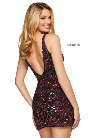 Sherri Hill 53122 prom dress images.  Sherri Hill 53122 is available in these colors: Black Burgundy, Burgundy Blush, Nude Light Blue, Nude Aqua, Navy, Gold, Navy Light Blue, Light Blue Emerald.