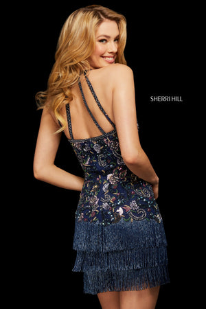 Sherri Hill 53124 prom dress images.  Sherri Hill 53124 is available in these colors: Black Multi; Ivory Multi; Navy Multi.