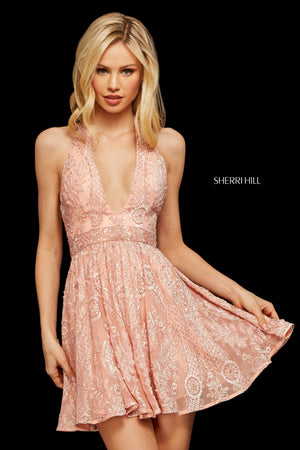 Sherri Hill 53125 prom dress images.  Sherri Hill 53125 is available in these colors: Blush; Berry; Ivory; Navy; Black.