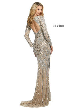 Sherri Hill 53130 prom dress images.  Sherri Hill 53130 is available in these colors: Black; Nude Silver; Rose Gold; Burgundy; Light Blue.