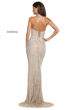 Sherri Hill 53132 prom dress images.  Sherri Hill 53132 is available in these colors: Light Blue; Blush; Burgundy; Black; Periwinkle; Navy; Nude; Light Pink.