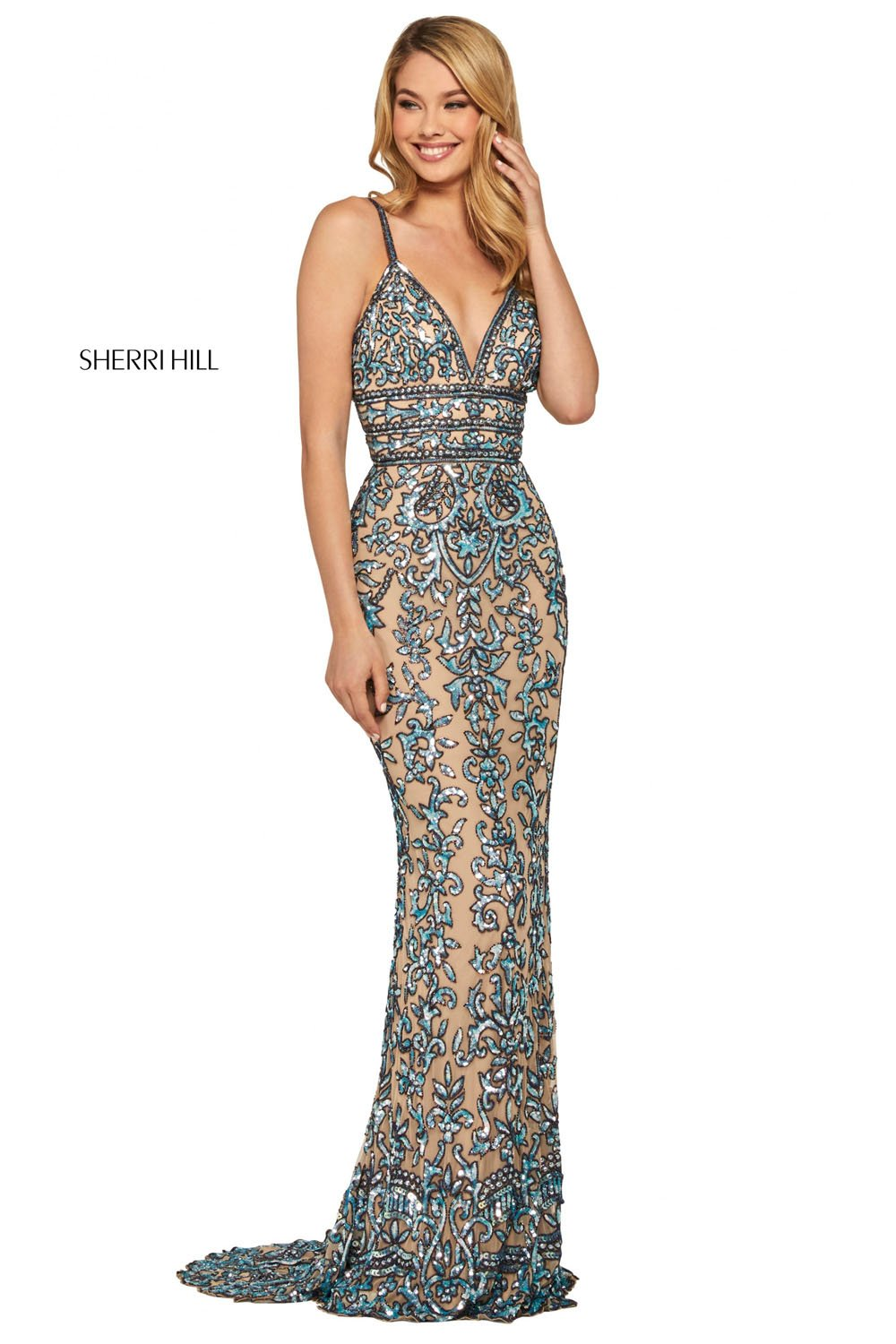 Sherri Hill 53136 prom dress images.  Sherri Hill 53136 is available in these colors: Blush Gold, Ivory Silver, Nude Light Blue, Black Burgundy, Nude Gold, Nude Aqua, Yellow, Periwinkle Pink, Burgundy Blush.