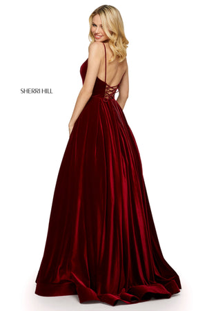 Sherri Hill 53138 prom dress images.  Sherri Hill 53138 is available in these colors: Black; Navy; Burgundy.