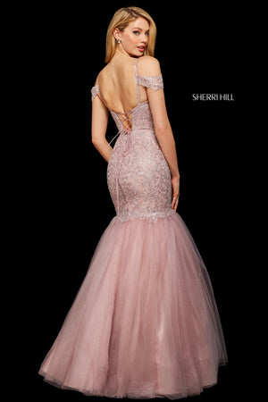 Sherri Hill 53140 prom dress images.  Sherri Hill 53140 is available in these colors: Ivory Gold; Blush; Rose Gold; Wine.