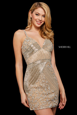Sherri Hill 53141 prom dress images.  Sherri Hill 53141 is available in these colors: Silver; Navy; Nude Silver; Nude Gold; Burgundy; Blush Silver; Black.
