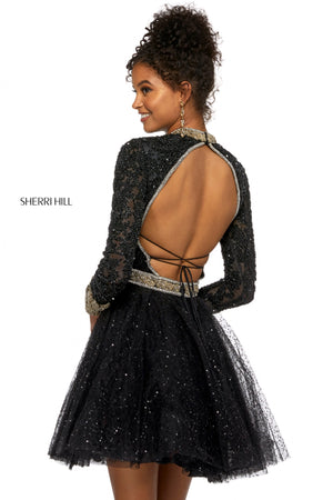 Sherri Hill 53144 prom dress images.  Sherri Hill 53144 is available in these colors: Black Gold.