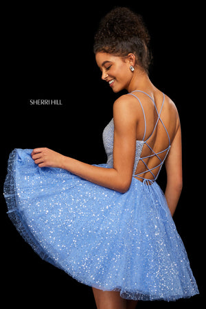 Sherri Hill 53146 prom dress images.  Sherri Hill 53146 is available in these colors: Light Blue; Periwinkle; Burgundy; Black; Navy; Ivory; Light Pink.