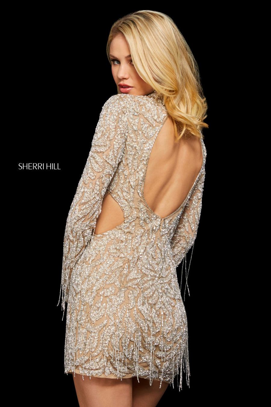 Sherri Hill 53149 prom dress images.  Sherri Hill 53149 is available in these colors: Nude Silver.
