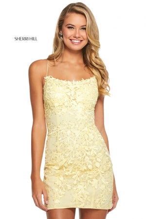 Sherri Hill 53151 prom dress images.  Sherri Hill 53151 is available in these colors: Black; Gold; Light Blue; Yellow; Lilac; Blush; Red; Navy; Ivory.