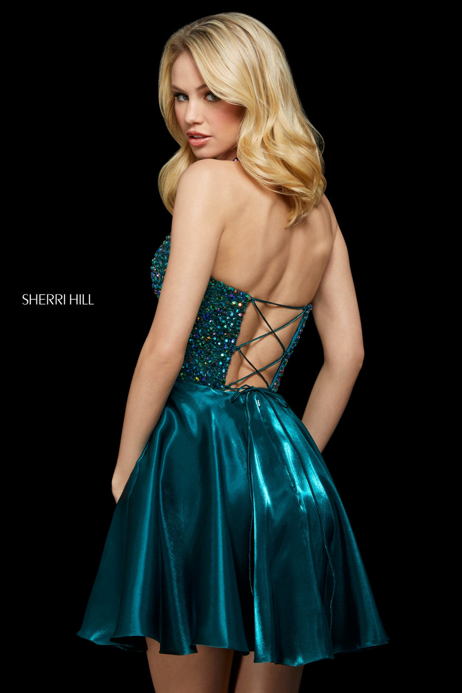 Sherri Hill 53154 prom dress images.  Sherri Hill 53154 is available in these colors: Gunmetal; Navy; Wine; Emerald.