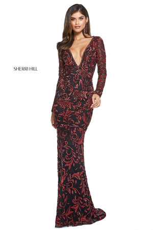 Sherri Hill 53161 prom dress images.  Sherri Hill 53161 is available in these colors: Burgundy; Nude Silver; Navy; Ivory Gold; Teal; Black Red.