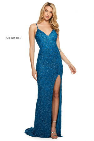 Sherri Hill 53162 prom dress images.  Sherri Hill 53162 is available in these colors: Navy; Burgundy; Nude Gold; Black; Peacock.
