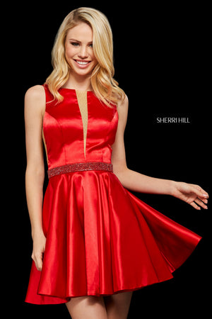 Sherri Hill 53166 prom dress images.  Sherri Hill 53166 is available in these colors: Emerald; Turquoise; Mocha; Navy; Red; Plum.