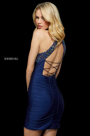 Sherri Hill 53169 prom dress images.  Sherri Hill 53169 is available in these colors: Aqua; Turquoise; Gunmetal; Black; Navy.