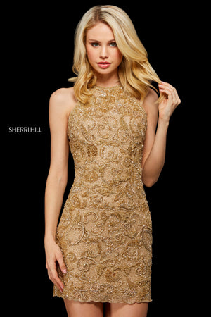 Sherri Hill 53171 prom dress images.  Sherri Hill 53171 is available in these colors: Burgundy; Black Gold; Gold.