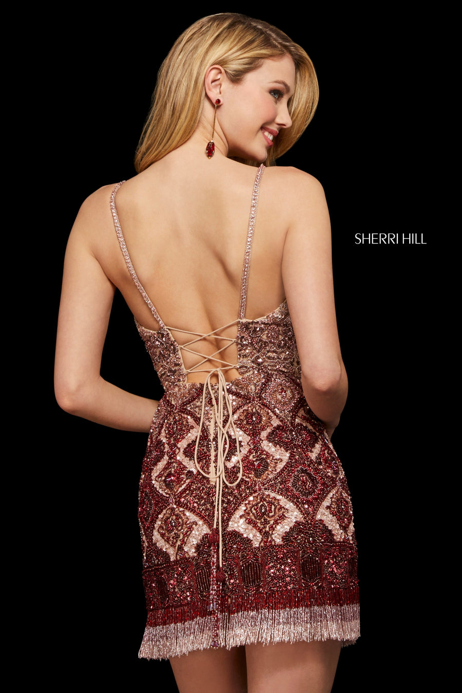 Sherri Hill 53173 prom dress images.  Sherri Hill 53173 is available in these colors: Blush Burgundy.