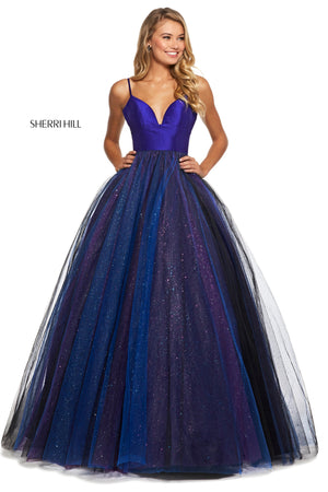 Sherri Hill 53174 prom dress images.  Sherri Hill 53174 is available in these colors: Purple Black.