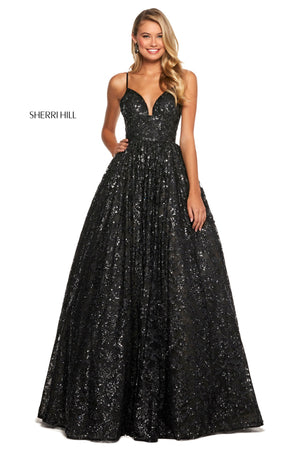 Sherri Hill 53176 prom dress images.  Sherri Hill 53176 is available in these colors: Black.