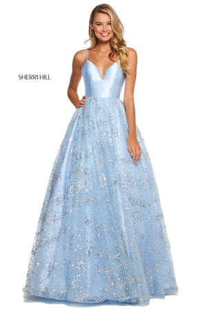 Sherri Hill 53177 prom dress images.  Sherri Hill 53177 is available in these colors: Black; Ivory; Light Blue.