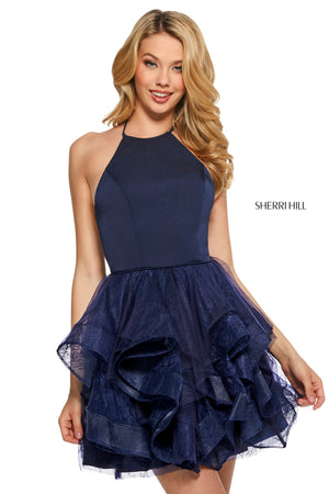 Sherri Hill 53178 prom dress images.  Sherri Hill 53178 is available in these colors: Blush; Ivory; Lilac; Periwinkle; Navy; Rose; Burgundy; Black.
