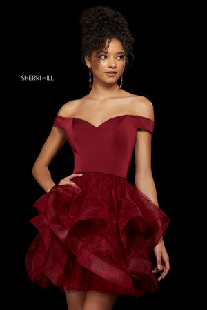 Sherri Hill 53180 prom dress images.  Sherri Hill 53180 is available in these colors: Navy; Ivory; Lilac; Black; Blush; Burgundy; Periwinkle.