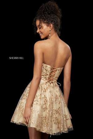 Sherri Hill 53181 prom dress images.  Sherri Hill 53181 is available in these colors: Black; Rose Gold; Gold.