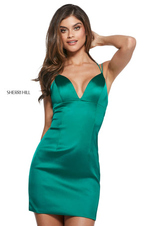 Sherri Hill 53200 prom dress images.  Sherri Hill 53200 is available in these colors: Aqua; Ruby; Blush; Black; Royal; Red; Emerald.