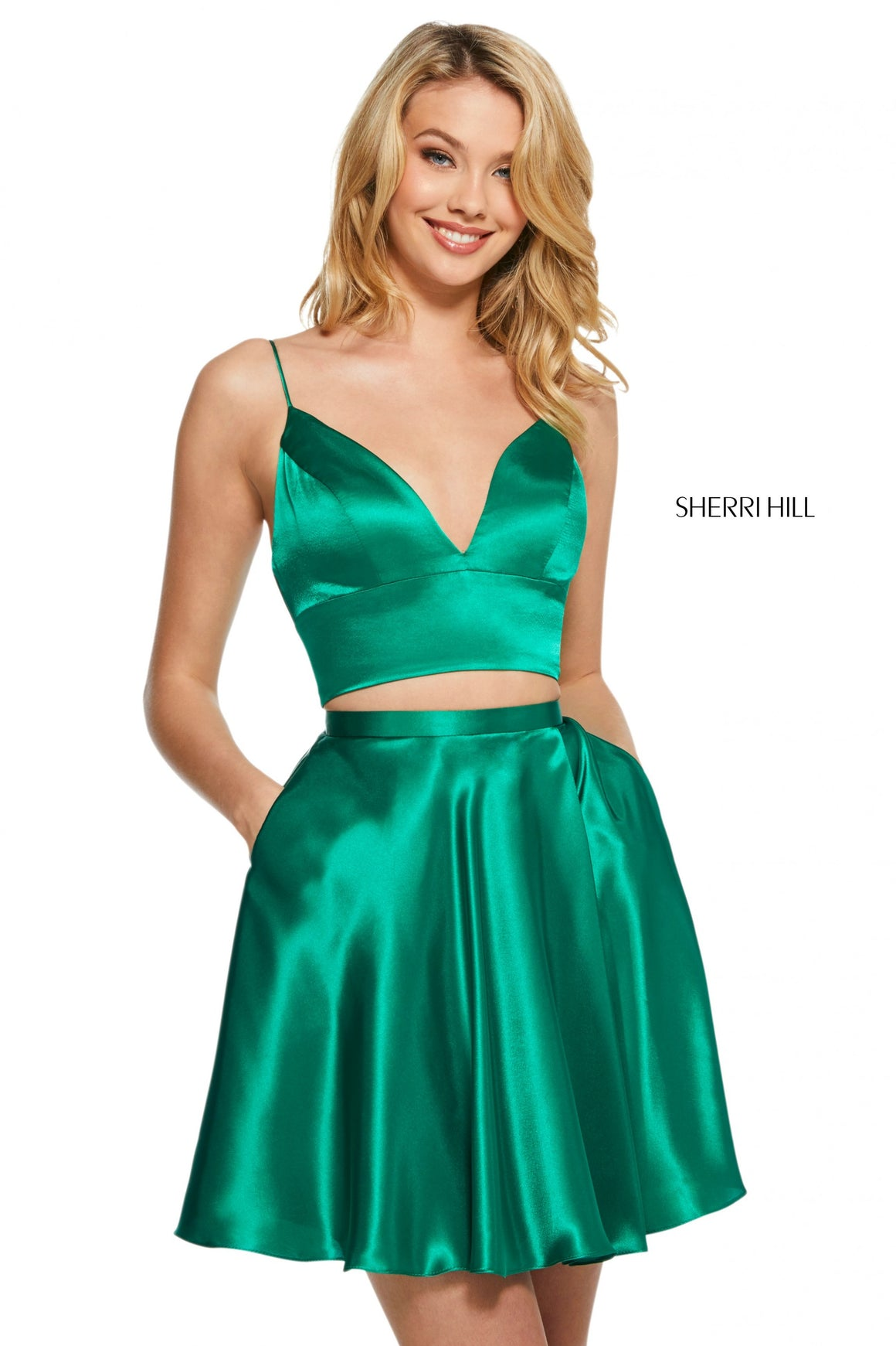 Sherri Hill 53202 prom dress images.  Sherri Hill 53202 is available in these colors: Red; Mocha; Turquoise; Yellow; Ruby; Light Blue; Black; Emerald; Royal; Lilac.