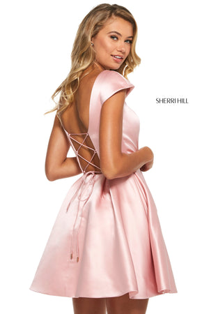 Sherri Hill 53211 prom dress images.  Sherri Hill 53211 is available in these colors: Ivory; Blush; Light Blue; Yellow; Red; Wine; Black; Navy.