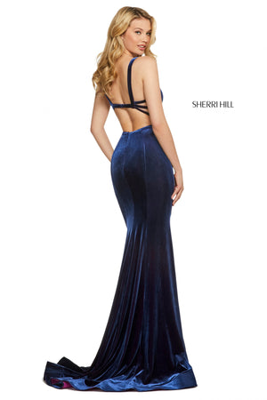 Sherri Hill 53222 prom dress images.  Sherri Hill 53222 is available in these colors: Navy Fuchsia.