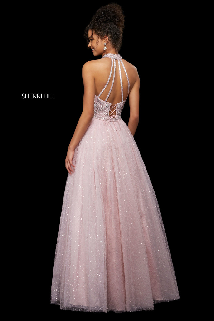 Sherri Hill 53228 prom dress images.  Sherri Hill 53228 is available in these colors: Ivory Gold; Black; Periwinkle; Light Pink; Light Blue.