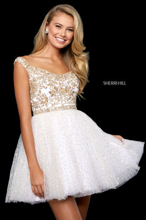 Sherri Hill 53229 prom dress images.  Sherri Hill 53229 is available in these colors: Navy; Burgundy; Ivory Gold; Teal; Blush.