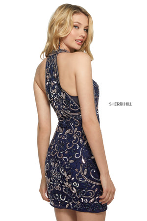 Sherri Hill 53230 prom dress images.  Sherri Hill 53230 is available in these colors: Navy Blush.