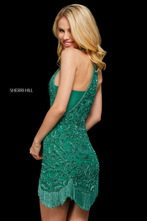 Sherri Hill 53231 prom dress images.  Sherri Hill 53231 is available in these colors: Navy; Black; Green; Gold; Burgundy.