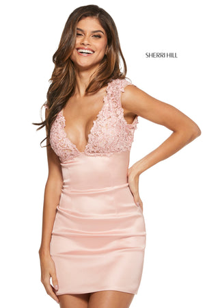 Sherri Hill 53239 prom dress images.  Sherri Hill 53239 is available in these colors: Black; Blush; Red.