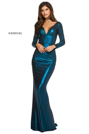 Sherri Hill 53240 prom dress images.  Sherri Hill 53240 is available in these colors: Black Teal; Black Royal; Black Gold; Copper.