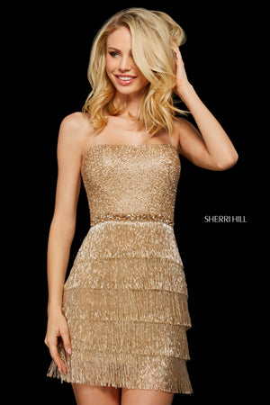 Sherri Hill 53245 prom dress images.  Sherri Hill 53245 is available in these colors: Gold; Black; Rose Gold.