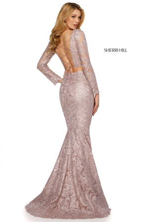 Sherri Hill 53247 prom dress images.  Sherri Hill 53247 is available in these colors: Burgundy; Black; Navy; Rose Gold; Blush; Light Blue.