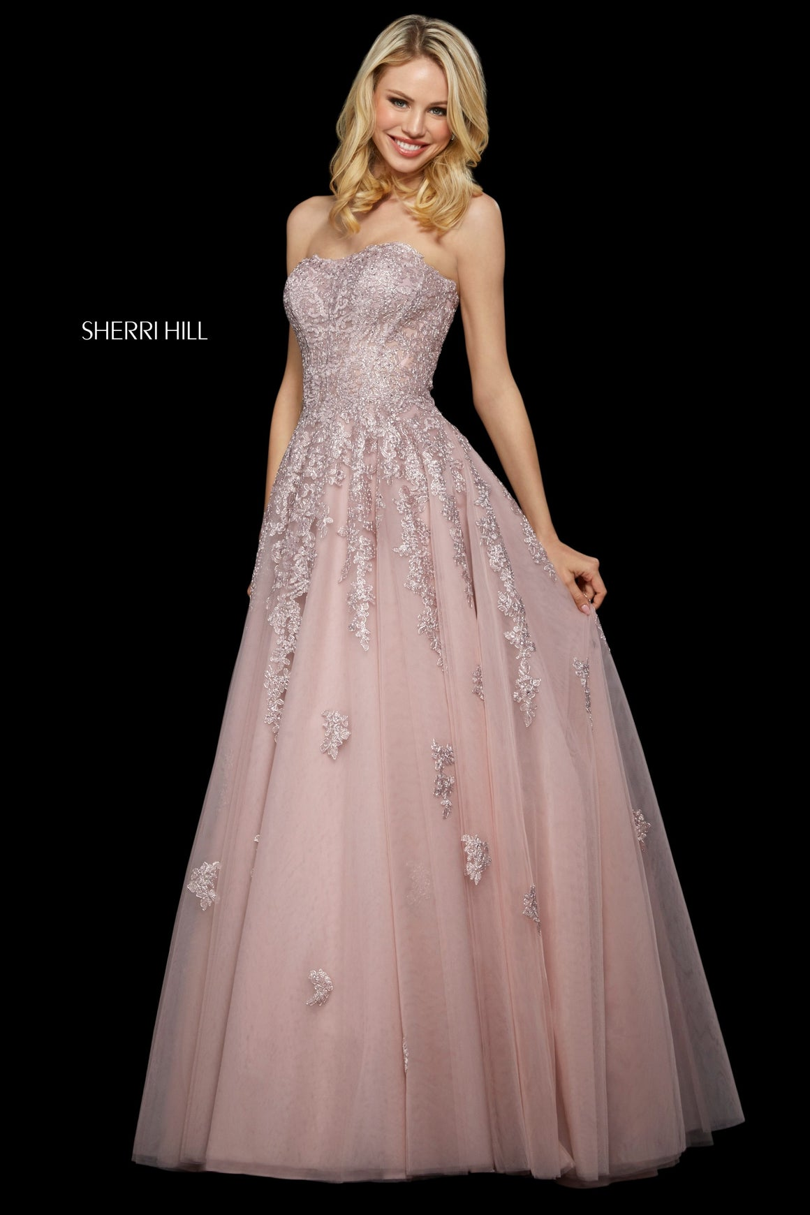 Sherri Hill 53248 prom dress images.  Sherri Hill 53248 is available in these colors: Navy; Blush; Gold Ivory; Burgundy; Black; Rose Gold; Light Blue.