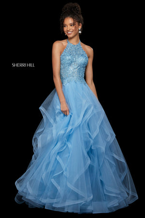 Sherri Hill 53249 prom dress images.  Sherri Hill 53249 is available in these colors: Blush; Navy; Black; Light Blue; Burgundy; Rose Gold.
