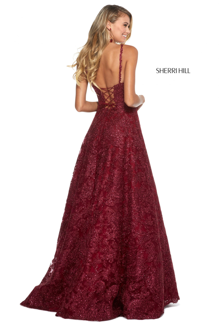 Sherri Hill 53250 prom dress images.  Sherri Hill 53250 is available in these colors: Black; Burgundy; Light Blue; Ivory; Rose Gold; Gold.