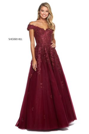 Sherri Hill 53251 prom dress images.  Sherri Hill 53251 is available in these colors: Light Blue; Ivory; Navy; Burgundy; Blush; Black; Rose Gold.