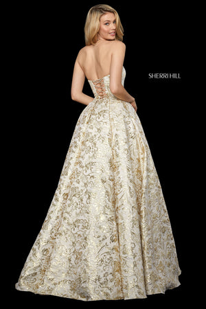 Sherri Hill 53253 prom dress images.  Sherri Hill 53253 is available in these colors: Light Blue Gold; Gold; Silver; Blush Gold.