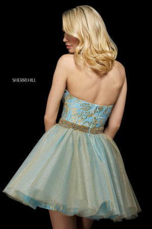 Sherri Hill 53254 prom dress images.  Sherri Hill 53254 is available in these colors: Blush Gold; Silver; Light Blue Gold; Gold.