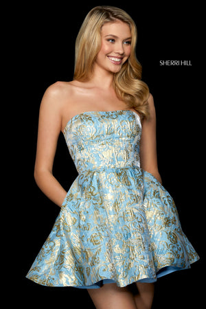 Sherri Hill 53255 prom dress images.  Sherri Hill 53255 is available in these colors: Light Blue Gold; Blush Gold; Gold; Silver.